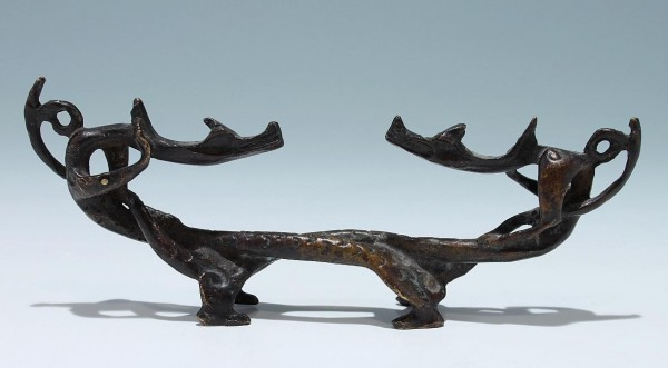 A Chinese Bronze Chilong Brush Rest - 20th. C.
