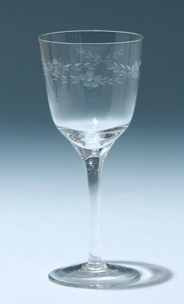 Jugendstil Weinglas mit Blumengirlande 15,8 cm
