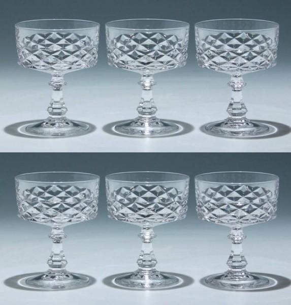 6 Cristal d`Arques Sektschalen DIAMOND - 11,7 cm