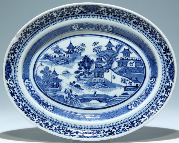 Chinese Blue and White Export Platter - 18th C.
