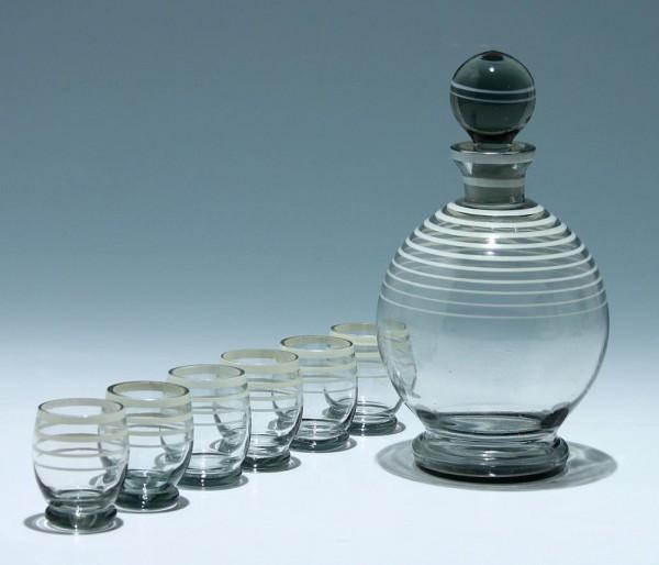 Art Deco Rauchglas Likörkaraffe mit 6 Gläschen-Copy
