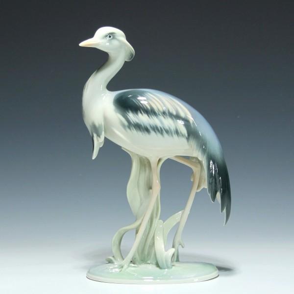 Metzler & Ortloff Porzellanfigur KRANICH - Höhe 20,3 cm