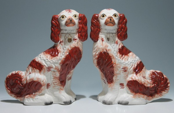 Pair of Old Staffordshire Spaniels 32 cm (12 2/3 inch)