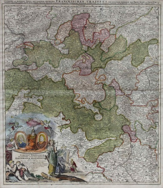 Kupferstich Karte CIRCULI FRANCONIAE - Homann in Nürnberg circa 1720