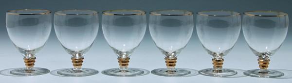 6 Art Deco Kelchgläser Frankreich - Höhe 11,5 cm - Serie 8
