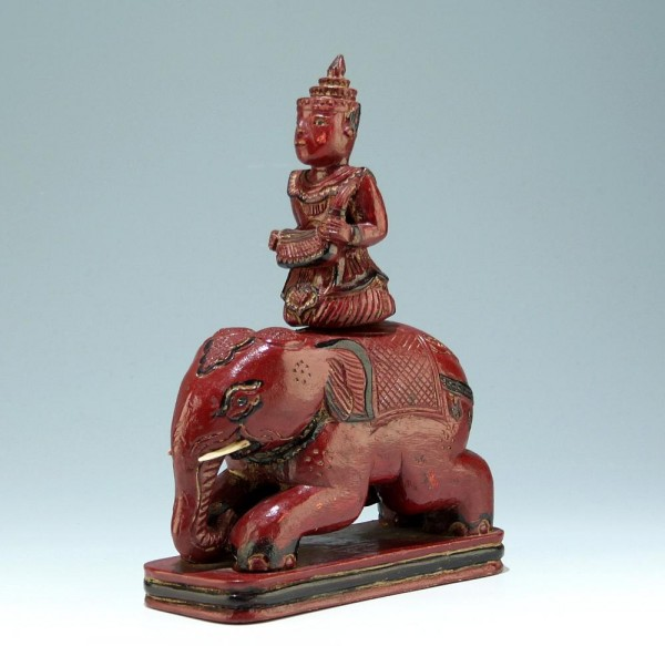 Asian Carved Elephant Rider Figure Box