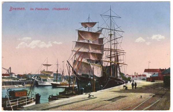 Ansichtskarte BREMEN - IM FREIHAFEN - gelaufen 1917 #ak0069
