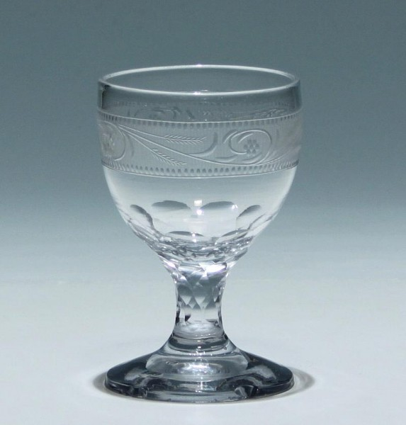Empire Weinglas mit feiner Schnittbordüre - England circa 1810