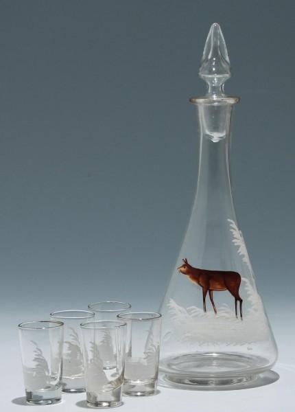 Likörkaraffe + 5 Gläschen mit Jagdmotiv