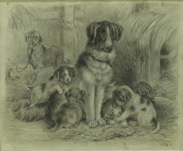 Bleistiftzeichnung Kohlezeichung Hundefamilie im Stall signiert und datiert 1872