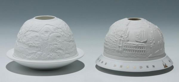 2 Lithophanie Teelichthalter DRESDEN und Stadtansicht