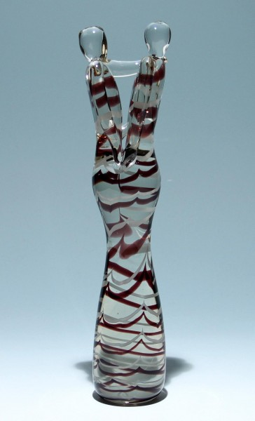 Moderne Glaskulptur LIEBESPAAR - Höhe 38 cm