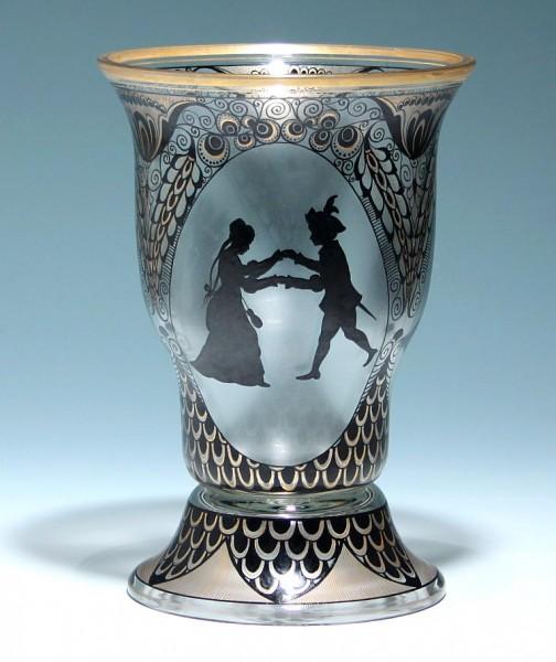 Vase mit Silhouetten - Fachschule Steinschönau 1910/15
