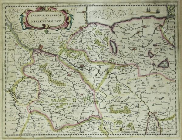 Kupferstich Karte SAXONIA INFERIOR et MEKLENBORG DVC: (1638)