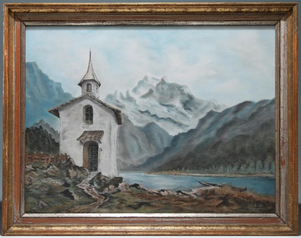 Pastell KAPELLE AM GEBIRGSSEE - signiert W.B. 1958