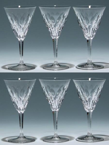 6 Bleikristall Weingläser Mitte 20. Jh. 14,7 cm - Serie 17