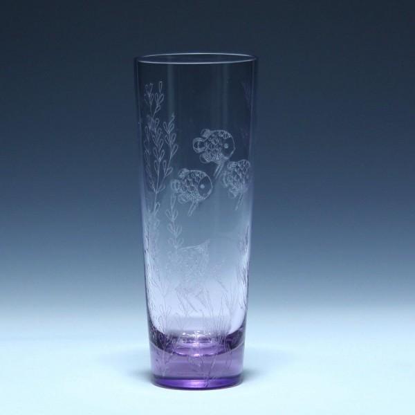 Alexandrit Vase mit Diamantritzung FISCHE - ZBS Bohemia Cristal