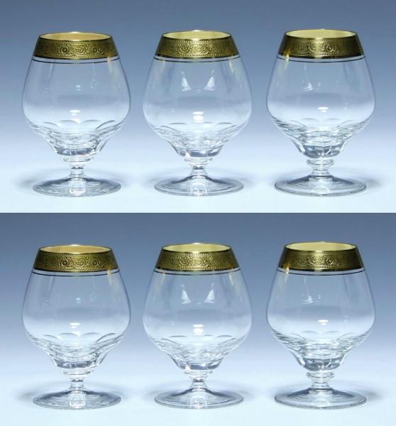 6 Theresienthal Cognacgläser MARLOWE Minton-Goldätzkante