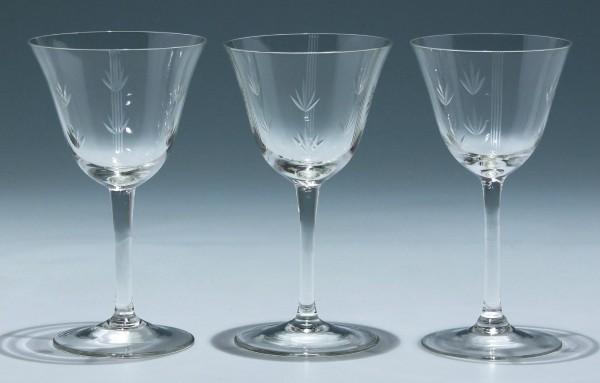 3 handgeschliffene Weingläser 1930er Jahre