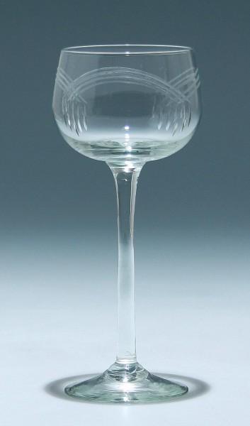Jugendstil Weinglas mit Schliffdekoration circa 1910