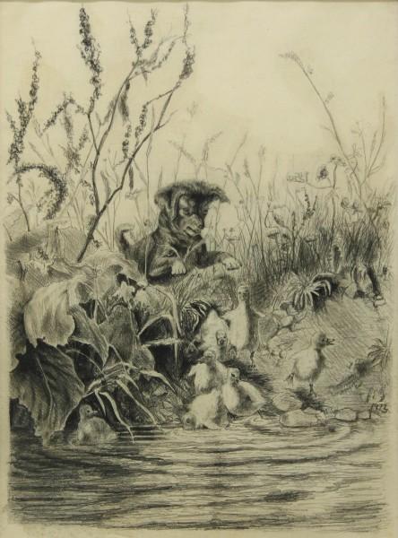 Bleistiftzeichnung Kohlezeichung ENTENJAGD monogrammiert und datiert 1873