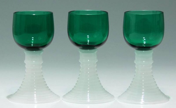 3 Alabasterglas-Römer - Ende 19. Jh.