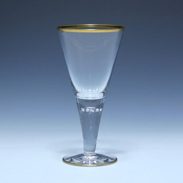Josephinenhütte Kelchglas MAGDA mit 9 Luftblasen - ca. 1900 - 19,2 cm
