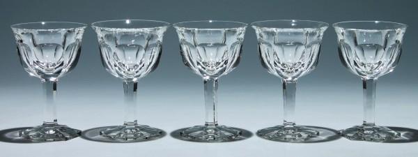 5 Luxus Bleikristall Weingläser - 1920/30er Jahre