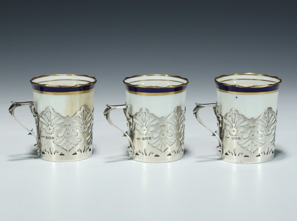 3 Moccacups AYNSLEY ENGLAND with Gorham Sterling Cup Holders