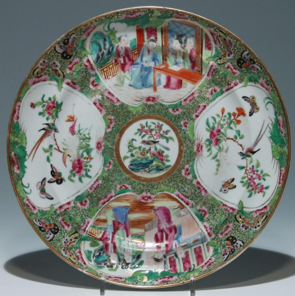 Chinese Canton Porcelain Rose Medaillon Plate 25,2 cm - 19th. C.