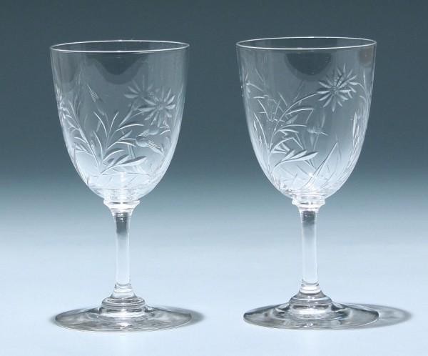 2 Bleikristallgläser mit Blumenschnitt - Frankreich circa 1900