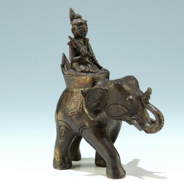 Indian Casted Brass Elephant and Rider