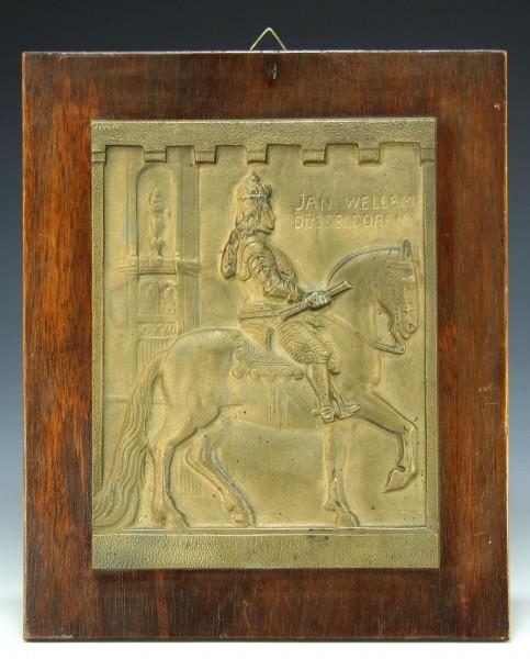 Bronzetafel JAN WELLEM DÜSSELDORF 1703 signiert Wiehe (1874-1960)