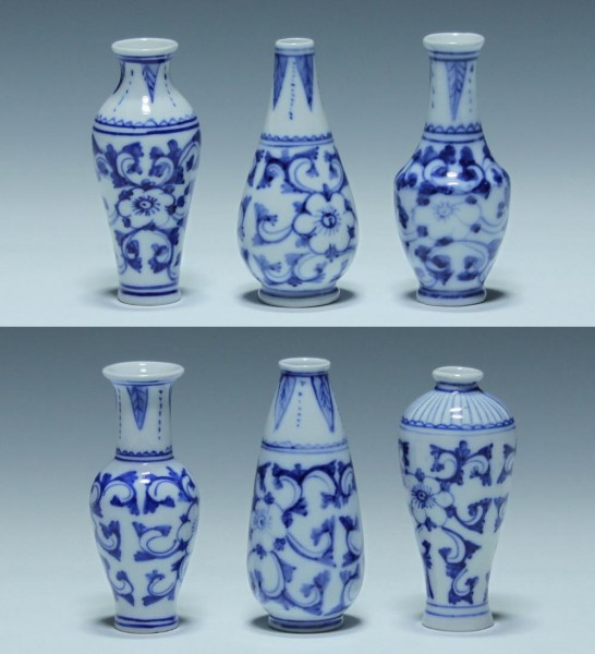 6 Modern Chinese Blue And White Miniature Vases - 9 cm