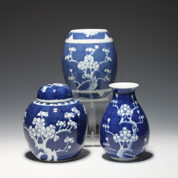 3 Chinese Cobalt Prunus Vases or Jars - 20th C.