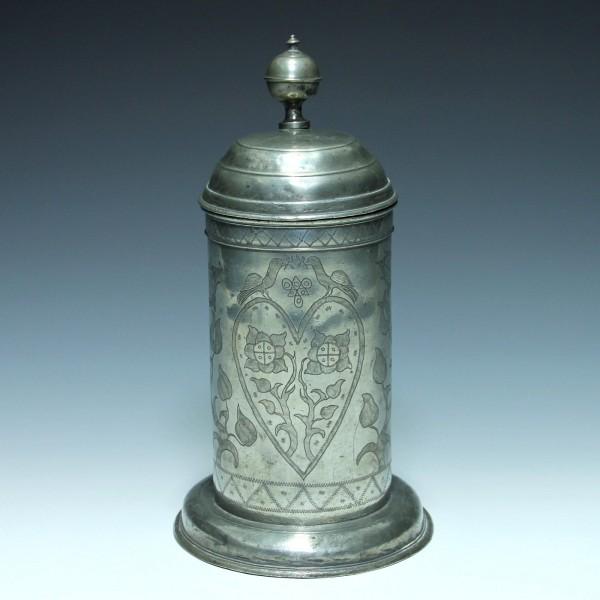 Barocker Zinnkrug Hochzeitskrug, wohl Sachsen - datiert 1797