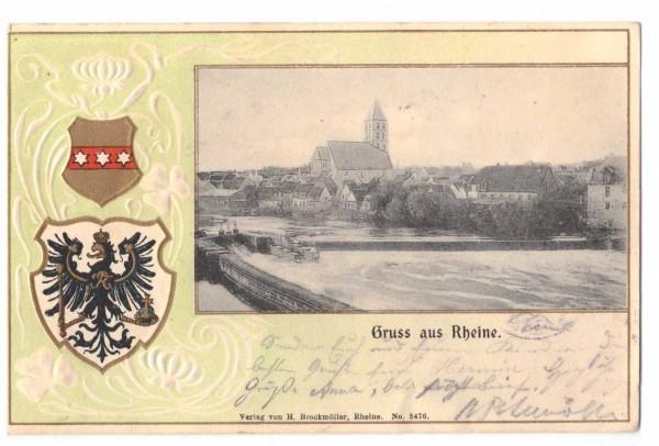 Ansichtskarte Prägekarte RHEINE i. W. - gelaufen 1905 #ak0036