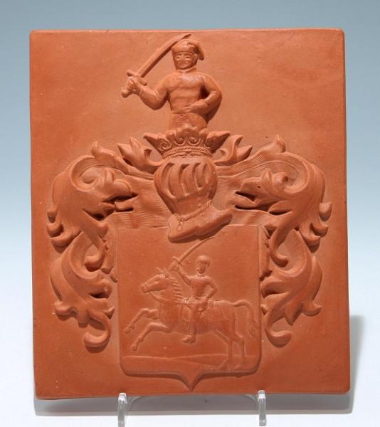Tonwandbild mit Wappendarstellung Reiter Ritter