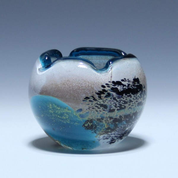 Signierte Glass Vase oder Ascher Ashtray Mdina / Malta