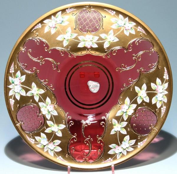 Großer JOSKA Glasteller mit Reliefemailblüten und Vergoldung 30,8 cm