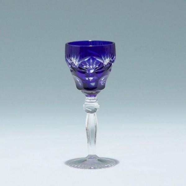 Annahütte Bleikristall Überfanglikörrömer - cobalt