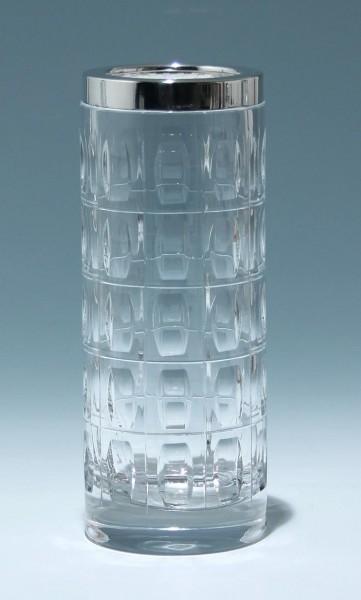 Handgeschliffene Bleikristallvase 1960er Jahre mit Silberrand 925 WTB