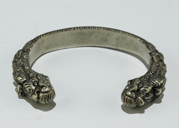 Ancient Tibetan Paktong or Solid Silver Dragon Bracelet