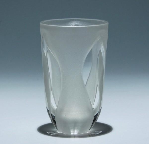 Vase in Sandstrahltechnik Etikett Rudolf Hantschel