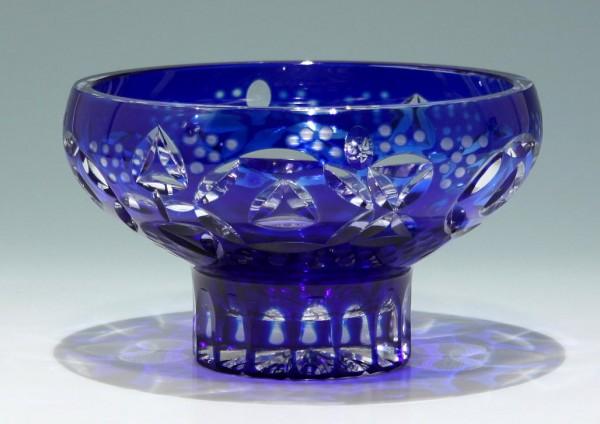 Handgeschliffene Überfangglas Bleikristallschale