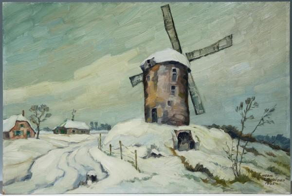 Ölgemälde WINDWÜHLE IM WINTER von Hermann Schröder (1897-1972)