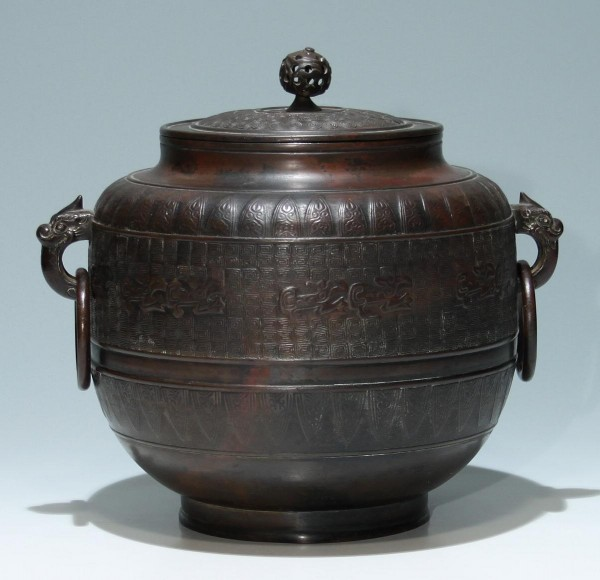 Good Japanese Archaistic Casted Bronze Edo - Meiji Pot