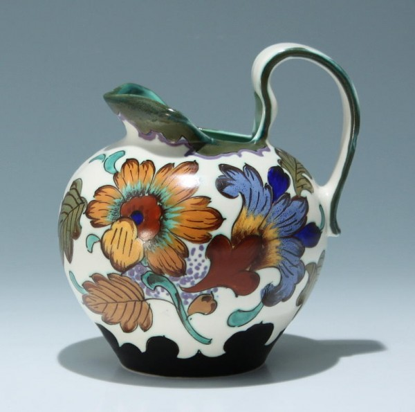Handbemalte Art Deco Henkelkanne GOUDA Holland