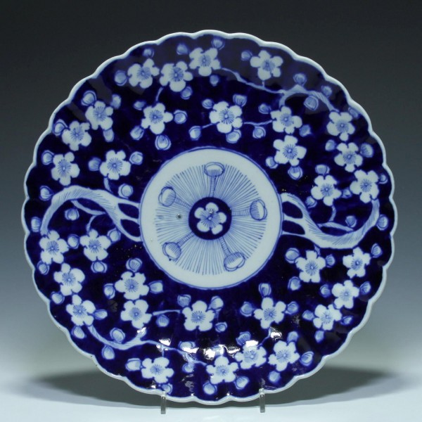 Japanese Blue and White Fan Plate - Early 20th. C. - Ø 31 cm