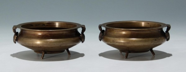 A Pair of Tibetan Bronze Censers